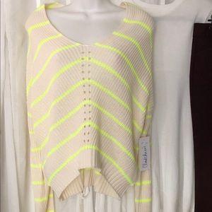 Neon stripe knit sweater